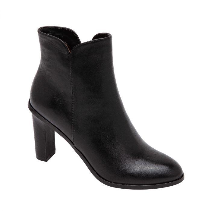 BIEL   Almond Toe High Heel Bootie with Notched Topline