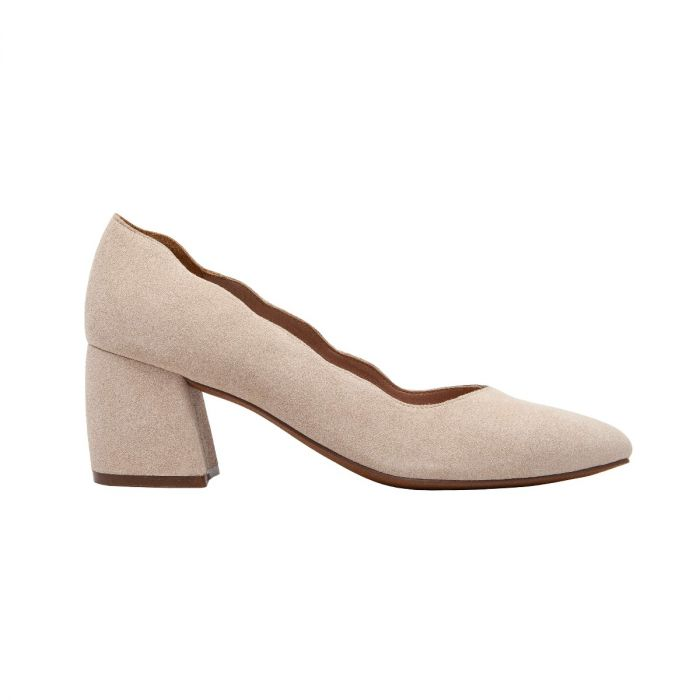 BRIANA | Art Deco Meets Contemporary in This Scalloped Topline Suede Mid-Height Pump