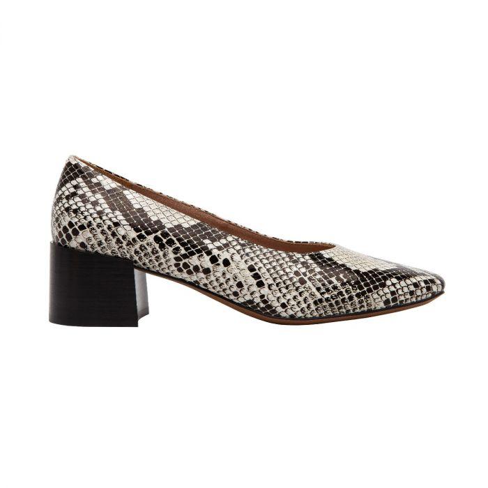 BRYN II | Square Toe Block Heel Leather Mid-Height Pump