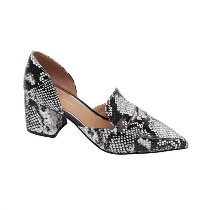 CACHE II | A Bold Two-Piece Pointy Toe Leather Loafer Pump Lifted by a Substantial Block Heel