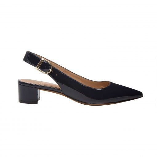 CELLA | Svelte Pointy Toe Low Block Heel Patent or Suede Slingback Pump
