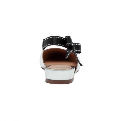 DANICA   Pointy Toe Leather Slingback Bow Flats