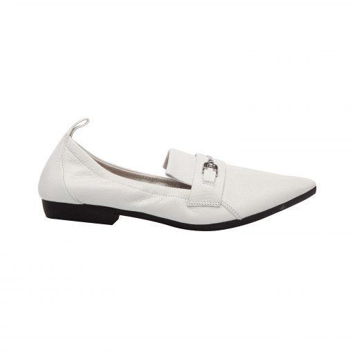 DOMINO | Menswear Inspired Leather Pointy Toe Elastic Topline Bit Loafer Flat