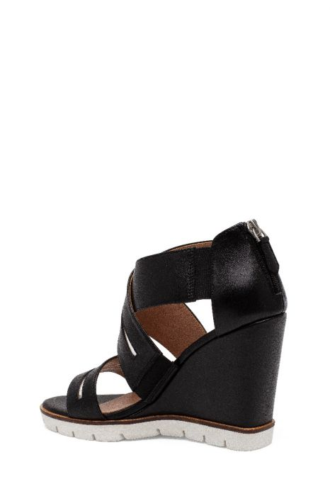 ELANA | High Wedge Leather Cage Sandal with Vinyl Details