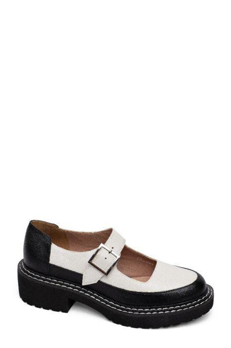 ELBA | Two Tone Lug Sole Mary Jane Platform Flats in Leather or Suede