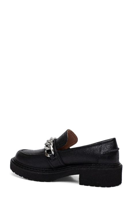 ELSIE | Built Up Lug Sole Slip On Loafers with Chunky Metal Chain Detail