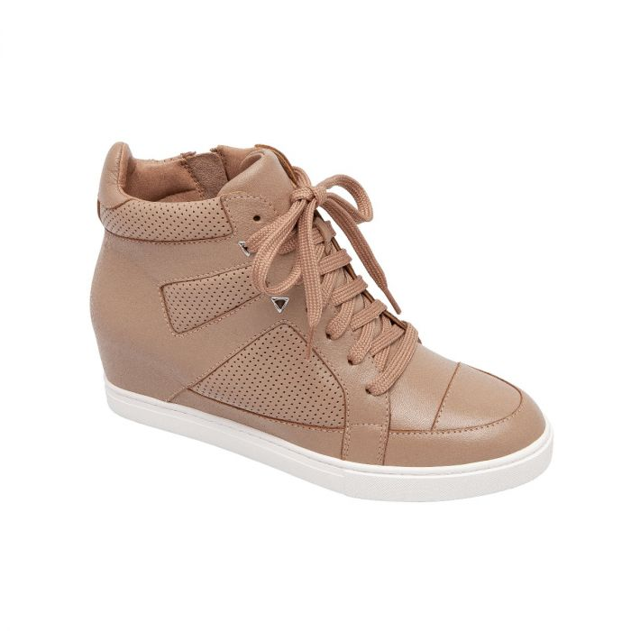 FARLEY | Sporty Streetwear Inspired Mid-Top Leather Sneaker Wedges