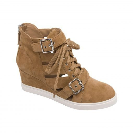 FAVE   Lace Up Strappy Sneaker Wedge with Buckle Adornment