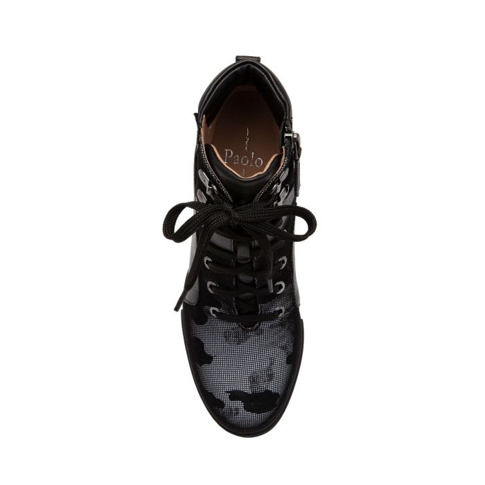 FLEUR | Sporty Luxe Lace-Up Mid-Height Wedge Sneakers