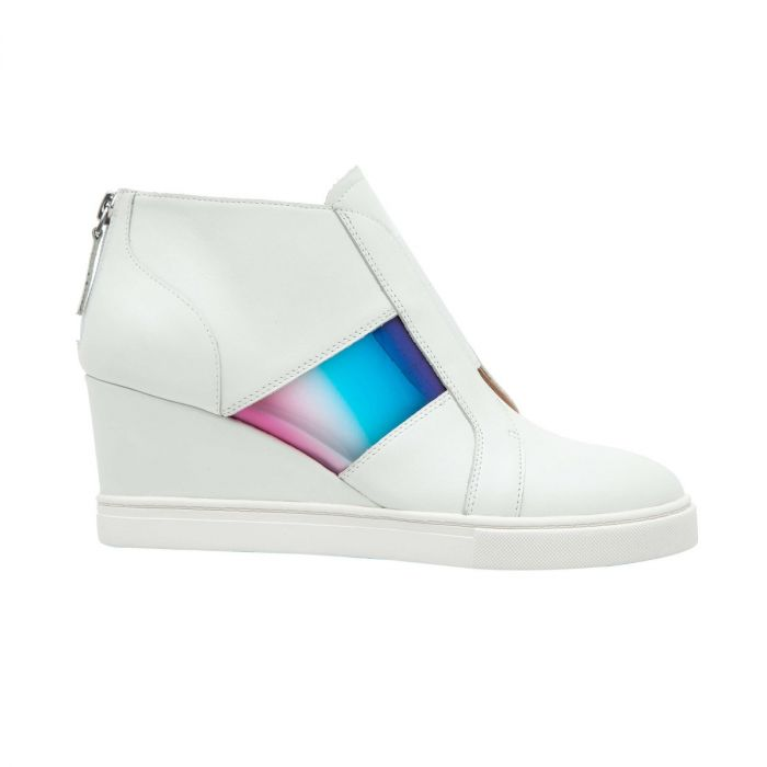 FLORENT   Mixed Media Leather Mid-Height Sneaker Wedges with Multi-Colored Band
