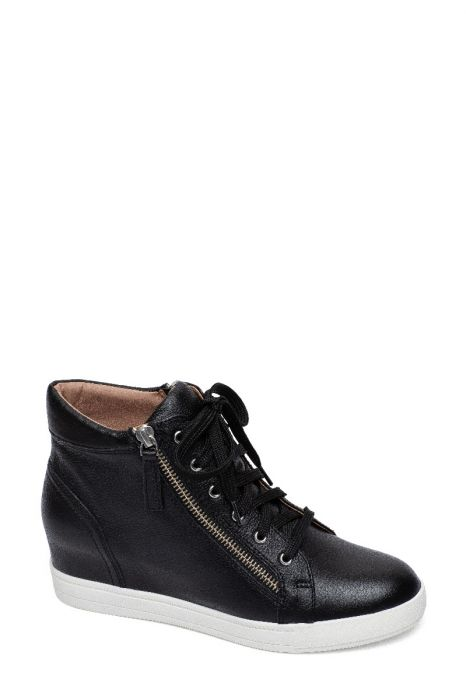 GAINES | Zipper Detailed Leather or Suede Lace Up Hidden Wedge Sneakers