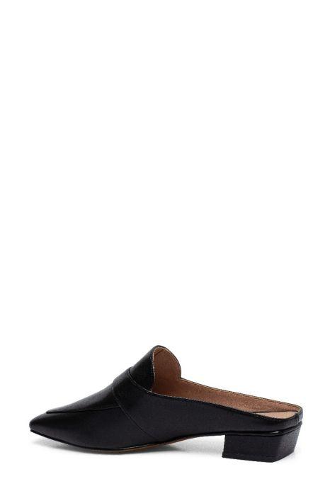 GALINA   Svelte Square Apron Toe Low Heel Leather Slip-On Mules