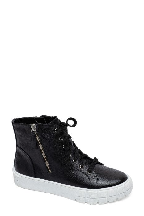 GIO | Bold Zipper Detailed Leather High Top Lace Up Leather Sneakers