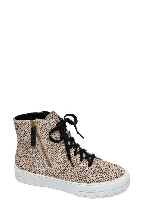 GIO II   Bold Zipper Detailed Leather High Top Lace Up Leather Sneakers
