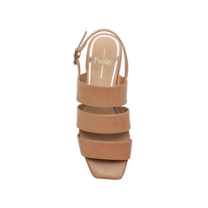 HAVANA   triple Banded Leather Low Block Heel Slingback Sandal