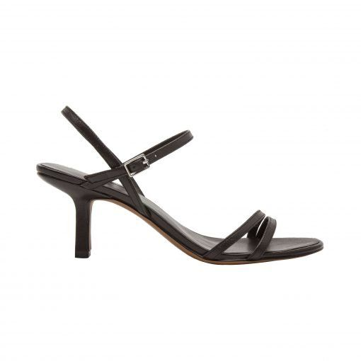 HOPE   Delicate Asymmetric Strap Leather Dress Sandal with Mid-Height Heel