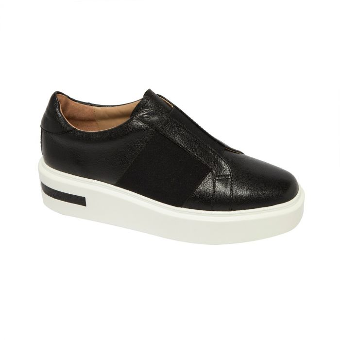 KAIRA   Athleisure Inspired Modern Leather Platform Sneaker with Wide Elastic Strap