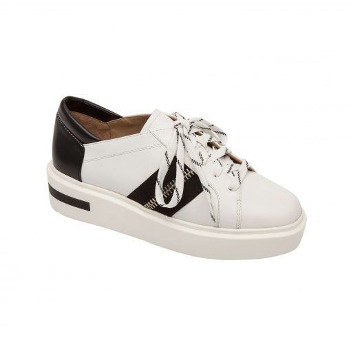 KAREN | Zipper adorned sporty lace-up leather platform sneaker with color banded laces