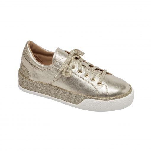 KATZ   Sporty Handcrafted Lace Up Leather and Glitter Sneaker