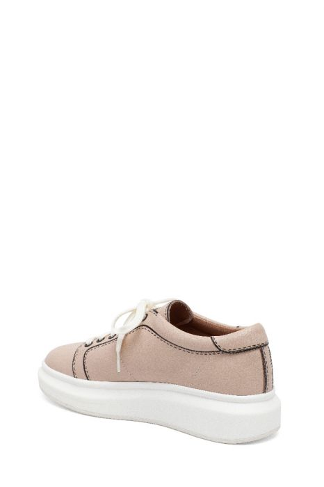KELSEY II    Playful Leather Lace-Up Marshmallow Platform Tennis Shoes with Contrasting Trim