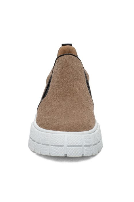 KENLY   Essential Slip On Casual Sneakers with Pull Tab and Elastic Gore Suede Flannel