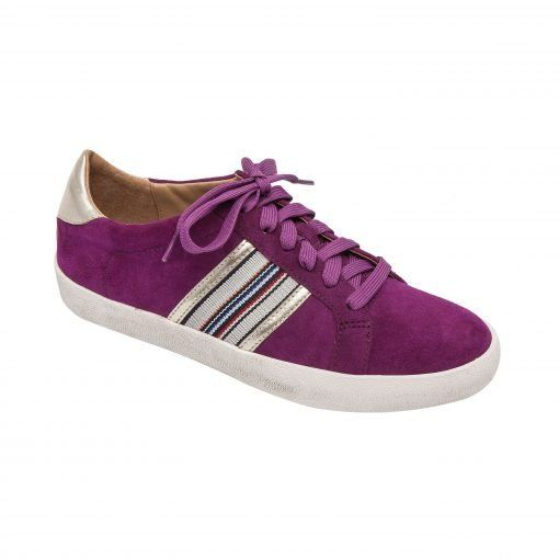 KYSON | Sporty Striped Suede and Metallic Lace Up Fashion Sneaker