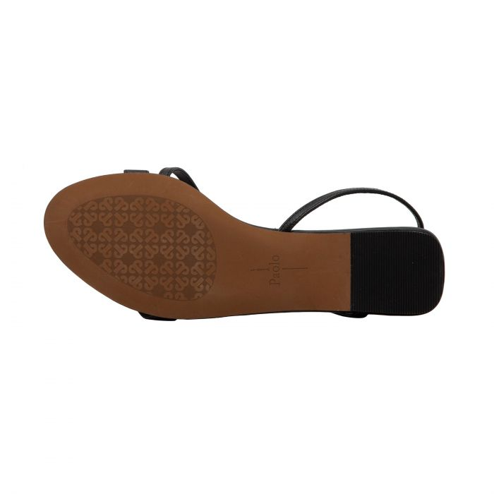 LAUREN   Minimailist Flat Strappy Leather Sandal Sand/Platino/Grey Snake Print Leather 4 M
