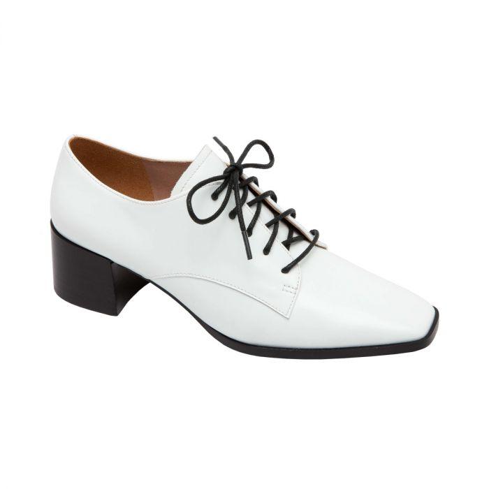 MALAGA | Square Toe Leather Lace-Up Block Heel Oxford
