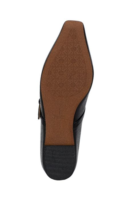 MAPLE | Svelte Square Toe Leather Mary Jane Flats with Hidden Sliver Wedge