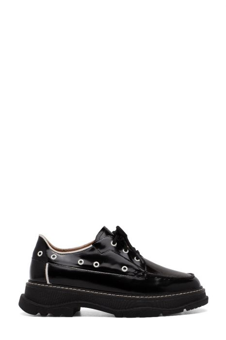 MARCY | Leather Lace-Up Welted  Apron Toe Lug Sole Loafers