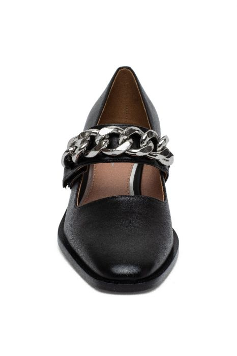 MERYL | Mid-Height Block Heel Square Toe Mary Jane Pumps with Chain Detail