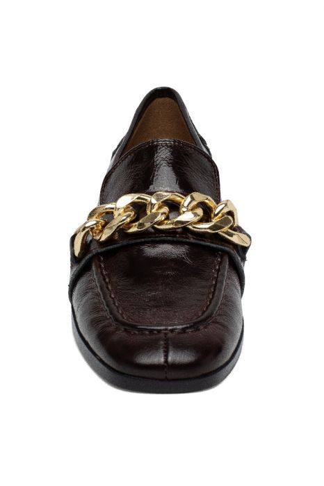 METZ   Apron Toe Leather Loafer Flat with Chain Keeper