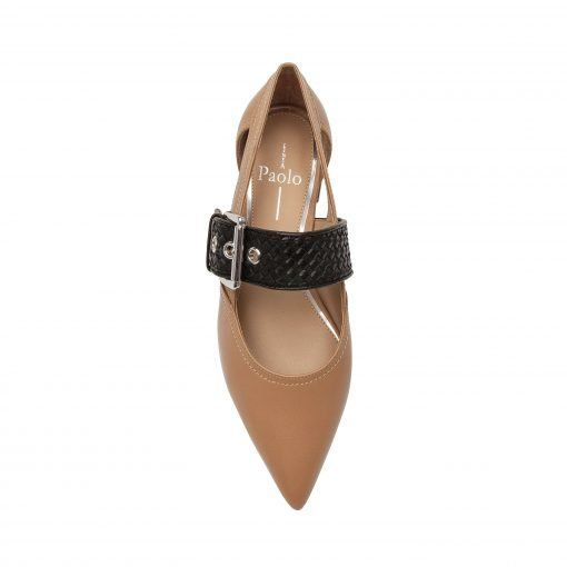 NAOMI   Fashion Forward Oversized Buckle Strap Cut Out Pointy Toe Flat