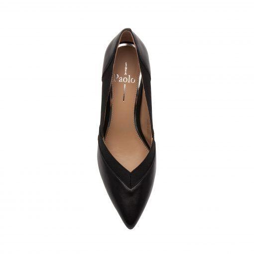 OAKLI   Retro Luxe Redux Leather Pointy Toe High Cone Heel Illusion Pump