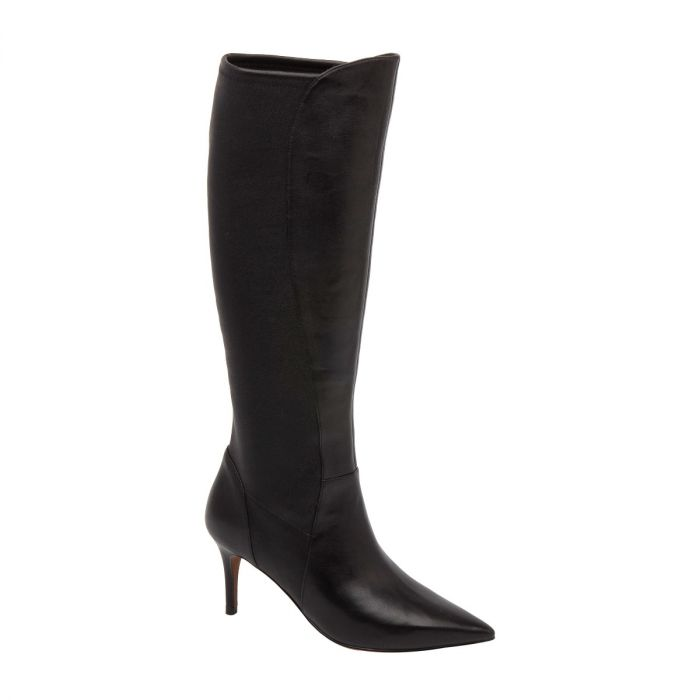 PARC   Pointy Toe Mid Height Heel Knee High Stretch Nappa Boots
