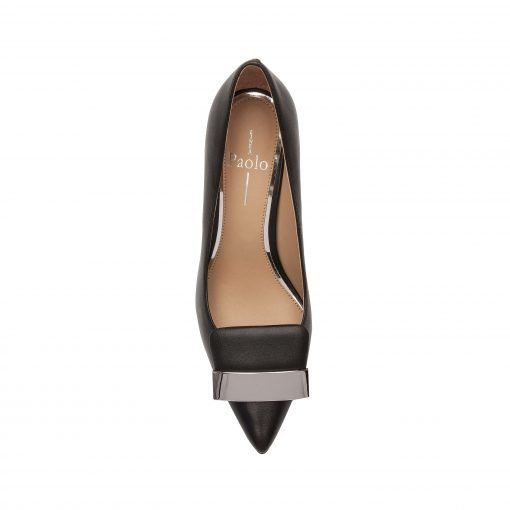 PARRY   Pointy Toe Stiletto Heel Pump with Self Wrapped Metal Ornament