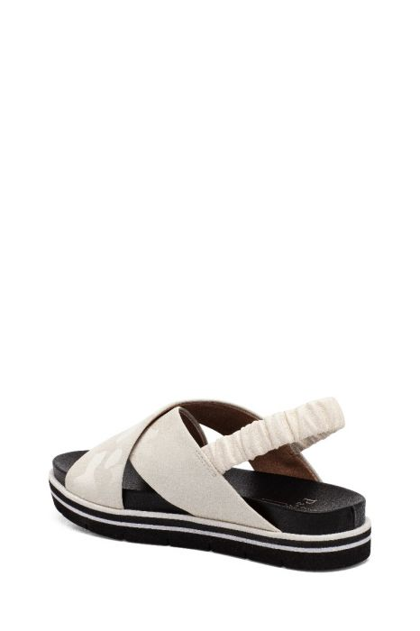 RHEA | Leather Cross Vamp Sport Sandal with Ruched Slingback