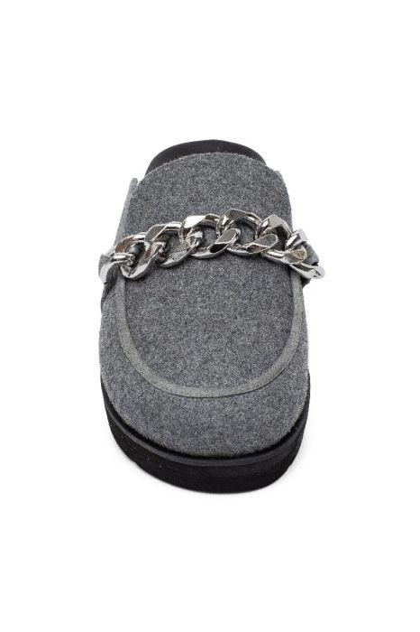 ROANN   Apron Toe Slip On Comfortable Platform Metal Chain Mules