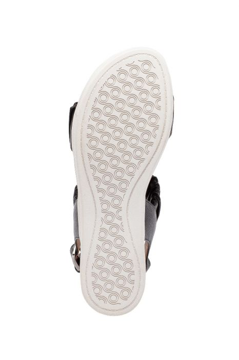 RUE   Feminine Ruched Nappa Sneaker Bottom Footbed Sandals