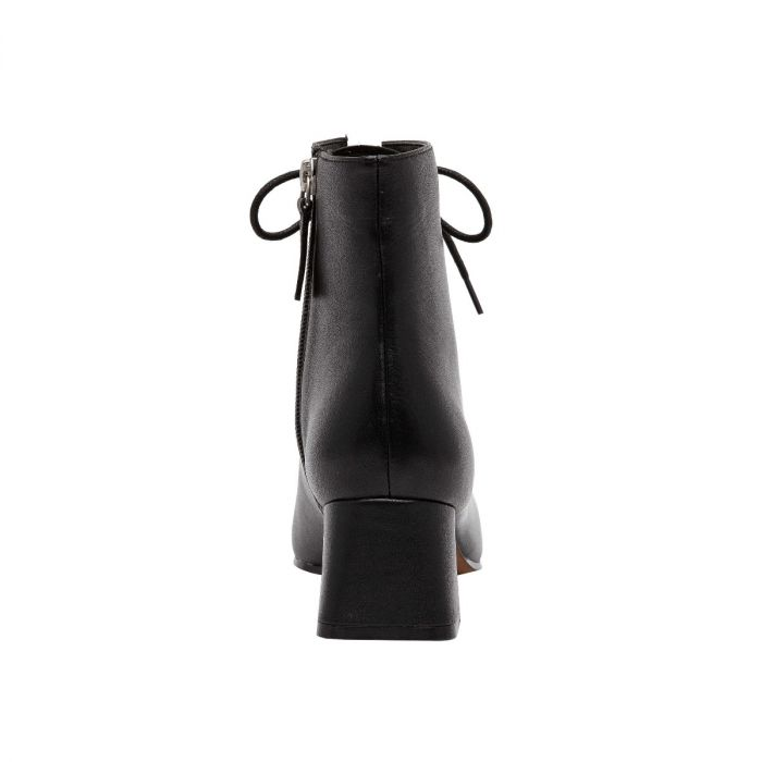 SANYA   Architecturally Inspired Square Toe Lace-Up Leather Bootie