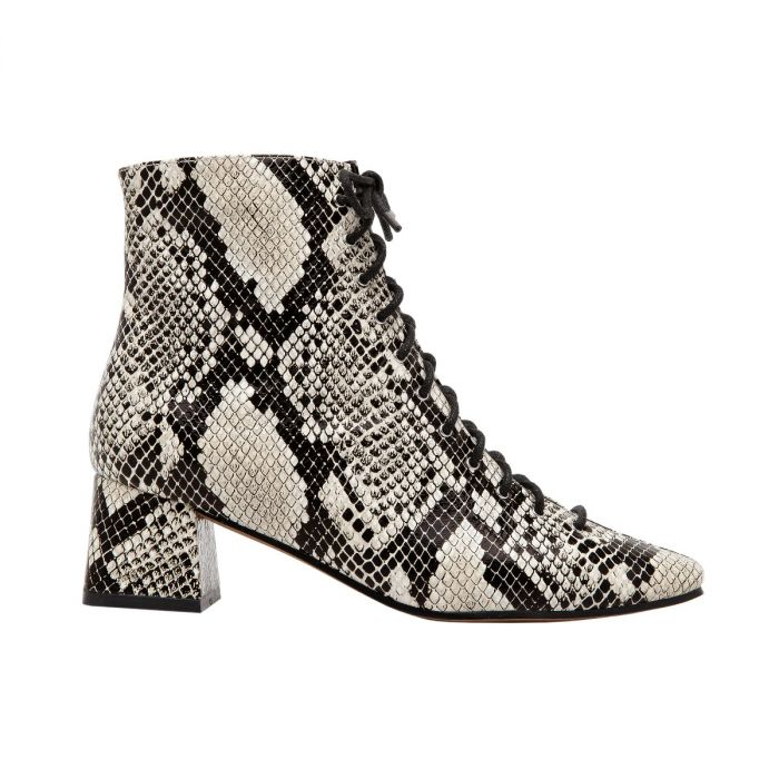 SANYA II   Architecturally Inspired Square Toe Lace-Up Leather Bootie