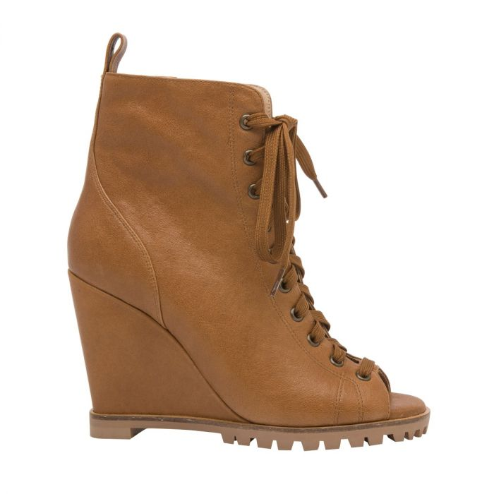 SASHA | High Wedge Lace-Up Lug Sole Peep Toe Transitional Bootie