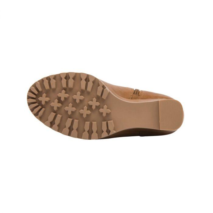 SASHA | High Wedge Lace-Up Lug Sole Peep Toe Transitional Bootie