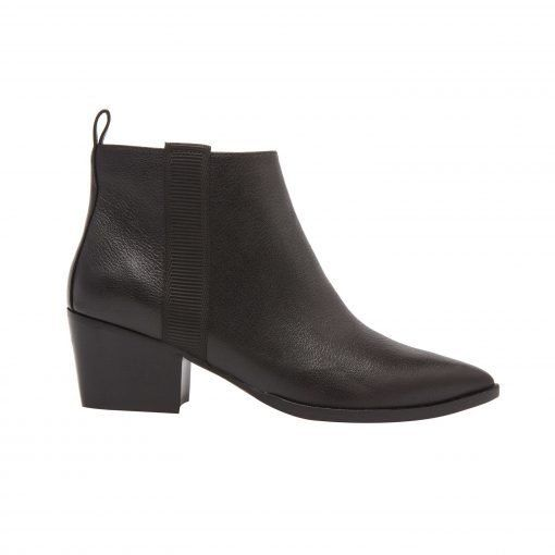 SEVILLA   Western Inspired Leather Bootie with Low Stack Heel