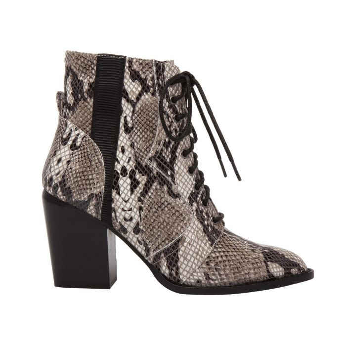 SURI | Lace-Up Stack Heel Leather and Snake Print Riding Booties