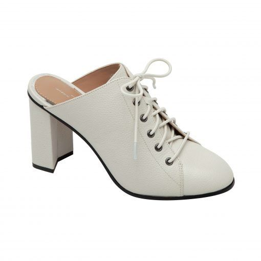 SYLVIE | Sassy Lace-Up High Block Heel Leather Mule