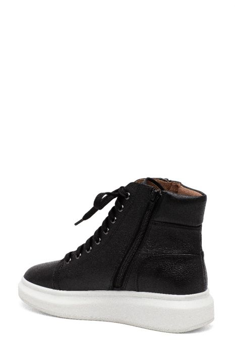 TANYA   On-Trend Marshmallow Platform Leather or Fabric Hightop Lace-up Sneakers