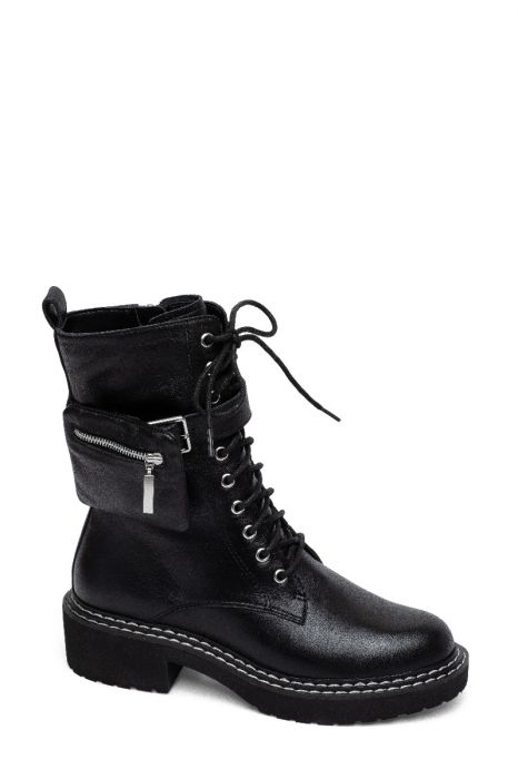 THAMES | Welted Lug Sole Calf Height Lace-Up Leather Boots with Zipper Pouch