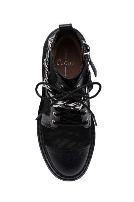 THEXTON   Lug Sole Lace Up Casual Ankle Booties with Removable Chain Detail