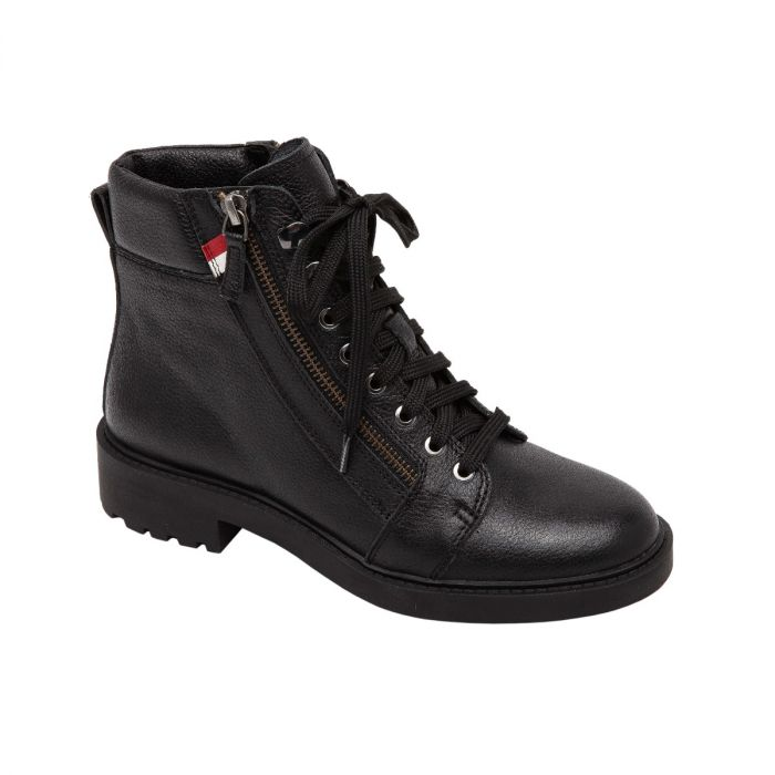 TIBBY | Zippered Leather Lug Sole Lace-Up Hikers Boot